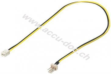 PC Lüfter Stromkabel/Stromadapter, 3 Pin zu 2 Pin, 0.3 m - Lüfter-Stecker (3-Pin) > Lüfter-Buchse (2-Pin)