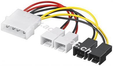 PC Lüfter Stromkabel/Stromadapter, 5.25 Stecker zu Lüfter 2x 12 V/2x 5 V, 0.15 m - 4-pol. > 2x 2-pol. 12 V +  2x 2-pol. 5 V