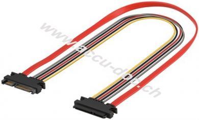 PC SATA Daten- und Stromkabel Verlängerung, 0.3 m - SATA Kombi Stecker Daten + Stromversorgung