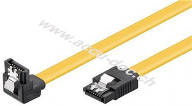 PC Datenkabel, 6 Gbits, 90° Clip, 1 m, Gelb - SATA L-Typ Stecker > SATA L-Typ Stecker 90°
