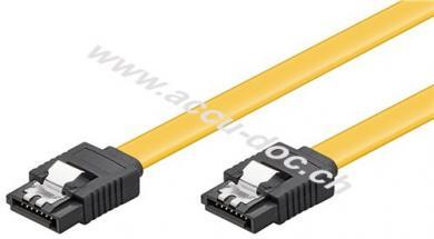 PC Datenkabel, 6 Gbits, Clip, 1 m, Gelb - SATA L-Typ Stecker > SATA L-Typ Stecker