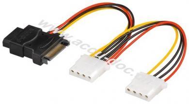 PC Y Stromkabel/Stromadapter, 5.25/SATA 1x Combo Stecker zu 2x Buchse, 0.2 m - SATA Standard Buchse > 3x HDD/5,25 Zoll-Buchse (4-Pin)