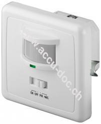 Infrarot/Akustik Bewegungsmelder, Weiß - zur Unterputz-Wandmontage, 160° Erfassung, 9 m Reichweite, für Innen (IP20), LED-geeignet