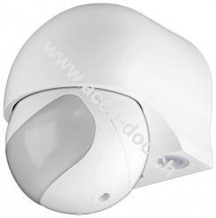 Infrarot Bewegungsmelder, Weiß - zur Aufputz-Wandmontage, 180 ° Erfassung, 12 m Reichweite, für Außen (IP44), LED-geeignet