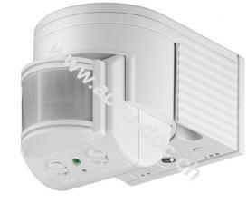 Infrarot Bewegungsmelder, Weiß - zur Aufputz-Wandmontage, 180° Erfassung, 12 m Reichweite, für Außen (IP44), LED-geeignet