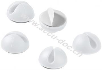 Kabelmanagement 1-Slot, weiß, Weiß - 5er-Set zum Ordnen und Fixieren, ablösbar