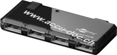 4-fach USB 2.0 Hi-Speed HUB, Schwarz, 0.4 m - zum Verbinden von bis zu 4 USB-Geräten mit einem USB-Anschluss