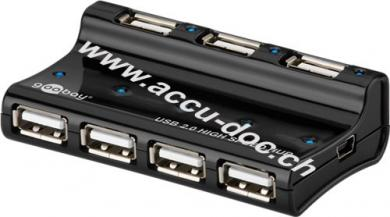 7-fach USB 2.0 Hi-Speed HUB/Verteiler, Schwarz, 0.4 m - zum Verbinden von bis zu 7 USB-Geräten mit einem USB-Anschluss, inkl. Netzteil