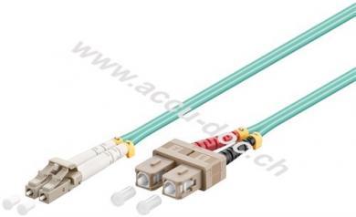 LWL Kabel, Multimode (OM3) Aqua, 3 m, Türkis - LC-Stecker (UPC) > SC-Stecker (UPC)