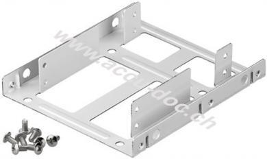 2,5'' Festplatten-Einbaurahmen auf 3,5'' - 2-fach, Silber - geeignet für den Einbau von bis zu zwei 2,5'' Festplatten in einen 3,5'' Gehäuseschacht