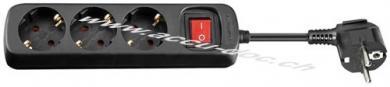 Steckdosenleiste mit Schalter 3 m, Schwarz, 3 m - 3x Schutzkontaktbuchse, Kindersicherung