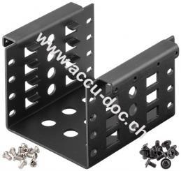 2,5'' Festplatten-Einbaurahmen auf 3,5'' - 4-fach, Schwarz - geeignet für den EInbau von bis zu vier 2,5'' Festplatte in einen 3,5'' Gehäuseschacht