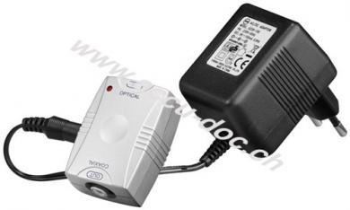 Opto-Koaxial-Wandler, Silber - konvertiert ein digital optisches Toslinksignal in ein digitales Cinchsignal
