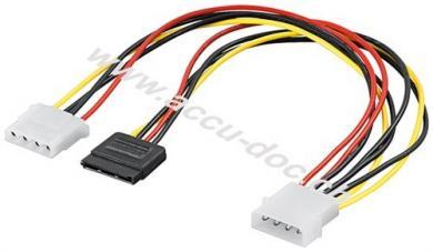 PC Y Stromkabel/Stromadapter 5.25, 1x Stecker zu 1x SATA Stecker und 1x Buchse 5.25, 0.3 m - SATA Standard Stecker > HDD/5,25 Zoll-Stecker (4-Pin) + HDD/5,25 Zoll-Buchse