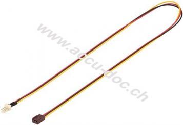 PC Lüfter Stromkabel Verlängerung, 3 Pin Stecker/Buchse, 0.6 m - Lüfter-Stecker (3-Pin) > Lüfter-Buchse (3-Pin)