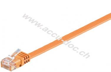 CAT 6 Flach-Patchkabel, U/UTP, Orange, 15 m - Kupfermaterial