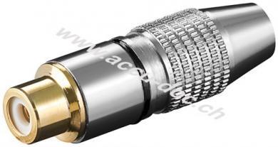 Cinch Kupplung, Schwarz - Metallausführung mit vergoldeten Kontakten