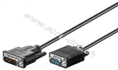 DVI-I/VGA Full HD Kabel, vernickelt, 1 m, Schwarz - DVI-A-Stecker (12+5 pin) > VGA-Stecker (15-polig)