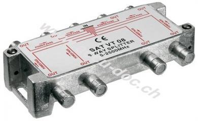 SAT-Verteiler, 8-fach, 8 x out, Silber - für Satellitenanlagen 5 MHz - 2500 MHz