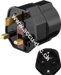 Netzadapter, Schwarz - Schutzkontaktbuchse (Typ F, CEE 7/4) > UK 3-Pin-Stecker (Typ G, BS 1363)