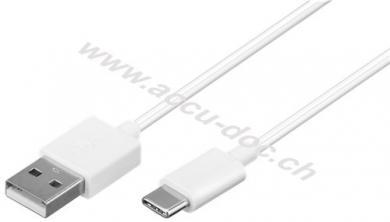 USB-C™ Lade- und Synchronisationskabel, 1 m, Weiß - verbindet Geräte mit USB-C™- und USB-A Anschlüssen miteinander
