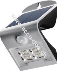 LED Solar-Wandleuchte mit Bewegungsmelder, 2 W, Silber - Lichtlösung für Hauseingänge, Carports & Treppen