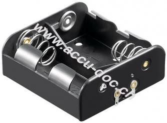 2x C (Baby) Batteriehalter, Schwarz