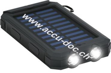 Outdoor Powerbank 8.0 (8.000 mAh), Schwarz, 0.5 m - für Outdoor-Abenteuer dank robusten Design, Solarpanel und Taschenlampenfunktion