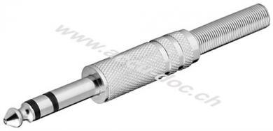 Klinkenstecker - 6,35 mm - stereo - Metallausführung mit Knickschutz