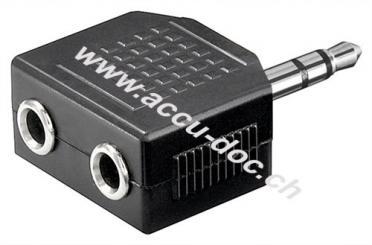 Kopfhörer Adapter AUX, Klinke 3,5 mm 1 zu 2, Klinke 3,5 mm Stecker (3-Pin, stereo) - Klinke 3,5 mm Stecker (3-Pin, stereo) > 2x Klinke 3,5 mm Buchse (3-Pin, stereo)
