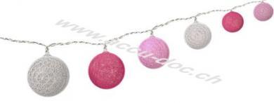 10er LED Lichterkette Cotton Balls, batteriebetrieben, Pink-Rosa, 0.3 m - Trendige Leuchtdekoration für den Innenbereich