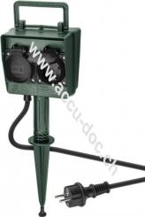 Gartensteckdose 2-fach mit Zeitschaltuhr, Grün-Schwarz, 2 m - speziell für den Außenbereich geeignet - spritzwassergeschützt IP44 mit Timerfunktion