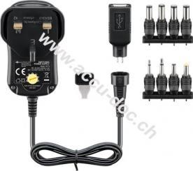UK - 3 V - 12 V Universal-Netzteil, 1 A, Schwarz, 1.8 m - inkl. 1 USB- und 8 DC-Adapter - max. 12 W und 1 A