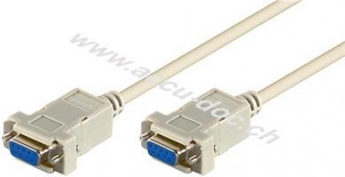 D-SUB 9 pin Anschlusskabel, Buchse/Buchse, seriell Nullmodem, 2 m, Grau - D-SUB/RS-232-Buchse (9-polig) > D-SUB/RS-232-Buchse (9-polig)