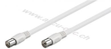 Antennenkabel (class A, >85 dB), 2x geschirmt, 1 m, Weiß - Koax-Stecker > Koax-Buchse (vollständig geschirmt)