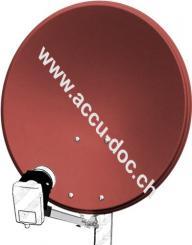 60 cm Alu-Satellitenspiegel, Ziegelrot - für Ein-/Mehrteilnehmer mit besonders stabilem Feedarm