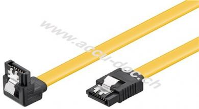 PC Datenkabel, 6 Gbits, 90° Clip, 0.3 m, Gelb - SATA L-Typ Stecker > SATA L-Typ Stecker 90°