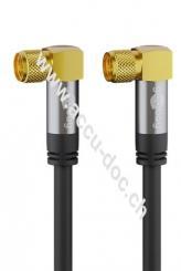 SAT Antennenkabel (135 dB typ), 4x geschirmt, 1 m, Schwarz - vergoldet, F-Stecker 90° > F-Stecker 90°