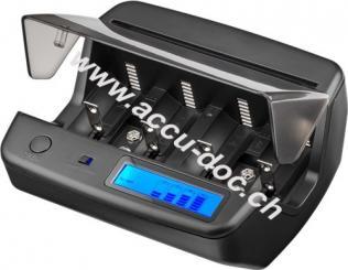 Universal LCD-Tischladegerät, Schwarz - geeignet für bis zu 4x Micro (AAA), Mignon (AA), Baby (C), Mono (D) und 2x 9 V-Block