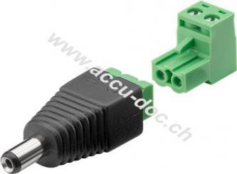 Terminal Block 2-pin > DC-Stecker (5,50 x 2,10 mm) - abnehmbare Schraubbefestigung, 2-teilig