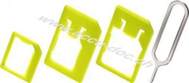 SIM-Kartenadapter Set (Click-In), 1 Stk. im Karton, Grün - für Nano SIM, Micro SIM und SIM-Format