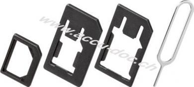 SIM-Kartenadapter Set, 1 Stk. im Polybeutel, Schwarz - für Nano SIM, Micro SIM und SIM-Format