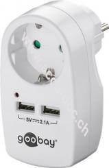 Schutzkontaktsteckdose 16 A mit 2x USB-Port, 2,1A, Weiß