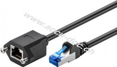 CAT 6A Verlängerungskabel, S/FTP (PiMF), Schwarz, 1.5 m - mit Montageflansch