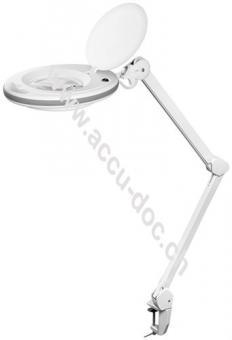 LED Klemm-Lupenleuchte7,5 W, Weiß - 127 mm Kristall-Glaslinse, 1,75x Vergrößerung, 3 Dioptrien, 520 Lumen