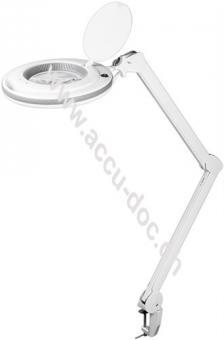 LED Klemm-Lupenleuchte8,5 W, Weiß - 127 mm Kristall-Glaslinse, 1,75x Vergrößerung, 3 Dioptrien, 83 Lumen - 800 Lumen