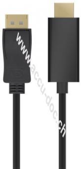 DisplayPort/HDMI™ Adapterkabel 1.2, vergoldet, 2 m, Schwarz - DisplayPort-Stecker > HDMI™-Stecker (Typ A)