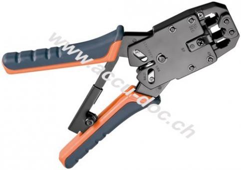 Crimpzange für Modularstecker - mit Zwangssperre und automatischer Entriegelung, Kabelschneider und Abisolierer