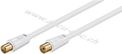 Antennenkabel (80 dB), 2x geschirmt, 1.5 m, Weiß - vergoldet, Koax-Stecker > Koax-Buchse (vollständig geschirmt)