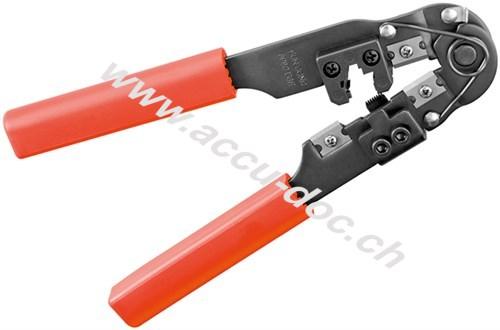 Crimpzange für Modularstecker, Schwarz-Rot - mit Kabelschneider und Abisolierer